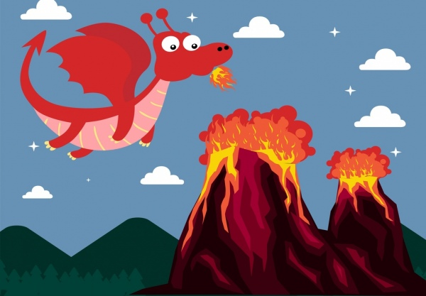 fire dragon drawing volcano icons colored cartoon style