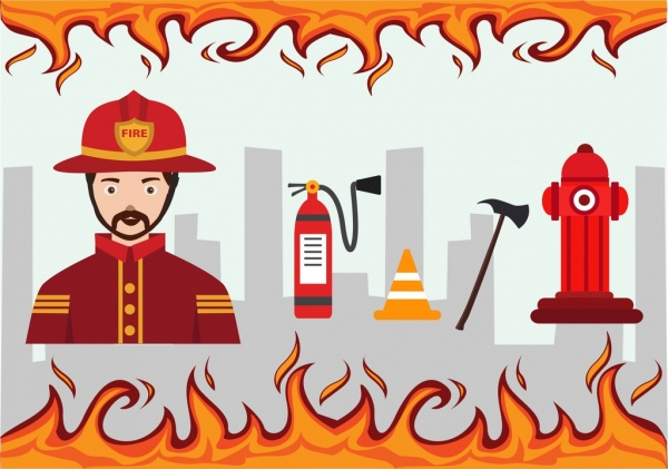 fire extinguish design elements human fighting tool icons