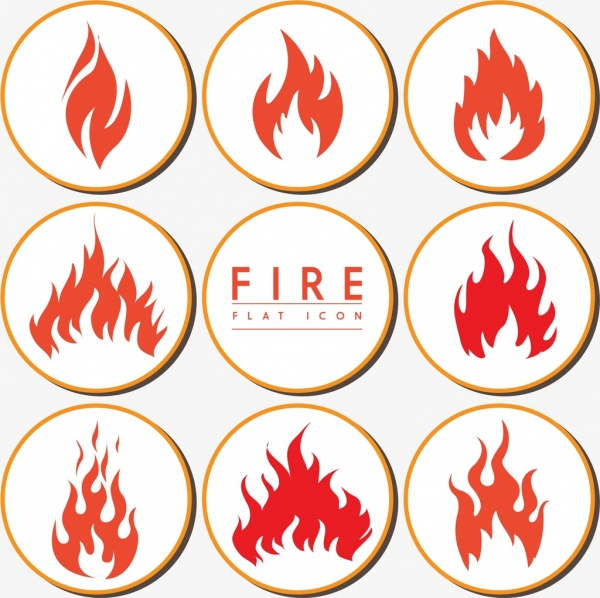 fire icons collection flat design various shapes isolation