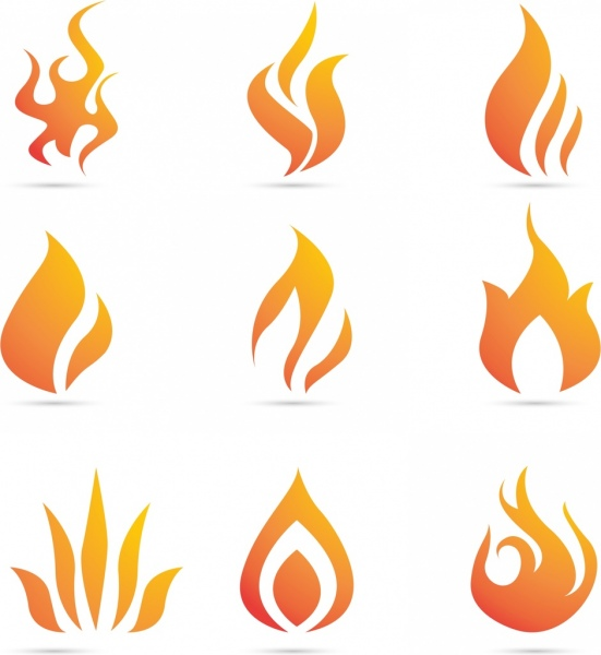 fire logo collection various orange flat shapes