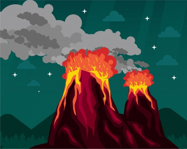 fire volcano background colored cartoon design