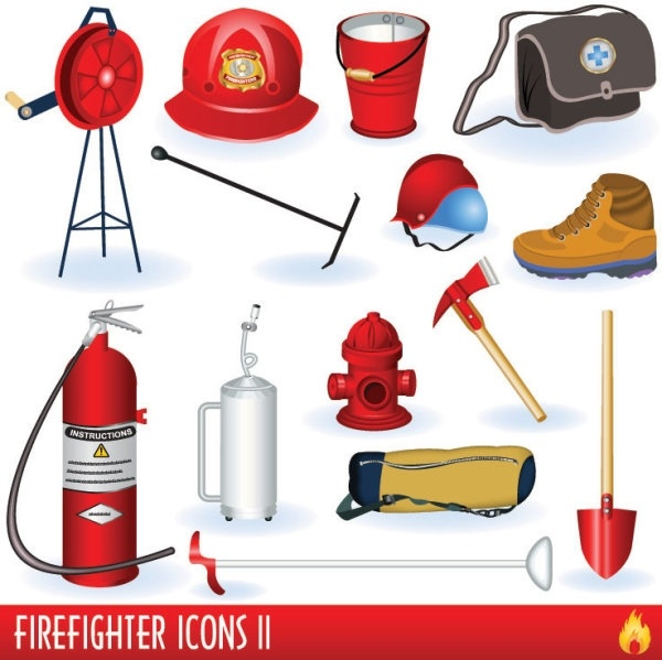 firefighters and fire equipment 01 vector