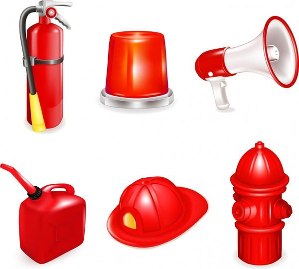 fire fighting tools icons shiny modern 3d sketch