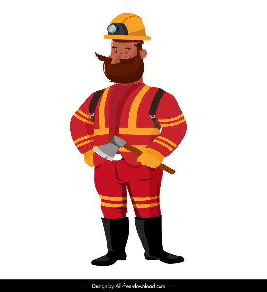 Fireman icon standing gesture colored cartoon sketch Free