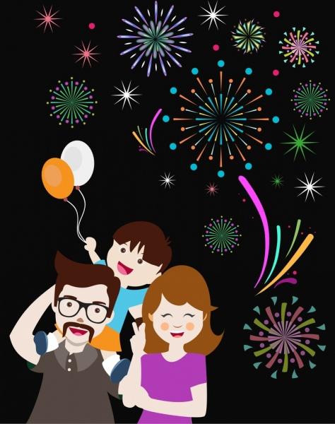 fireworks background design happy family decoration