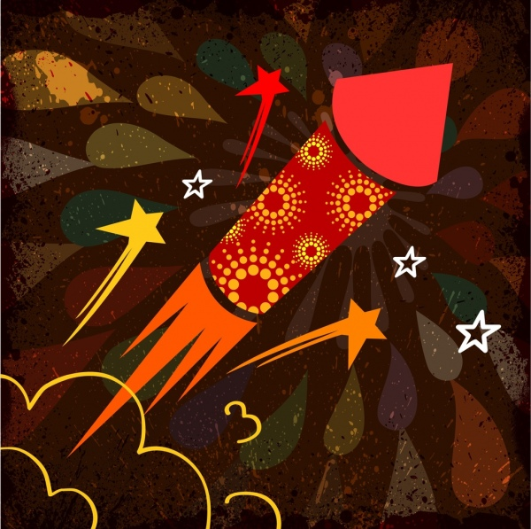 fireworks background design rocket decoration colorful vignette style