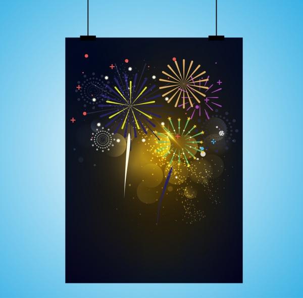 fireworks background template colorful sparkling design
