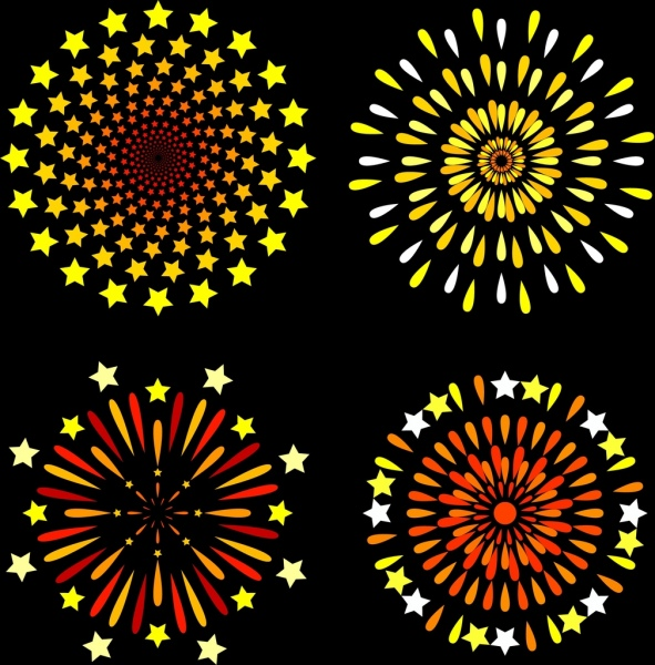 fireworks design element colorful flat style