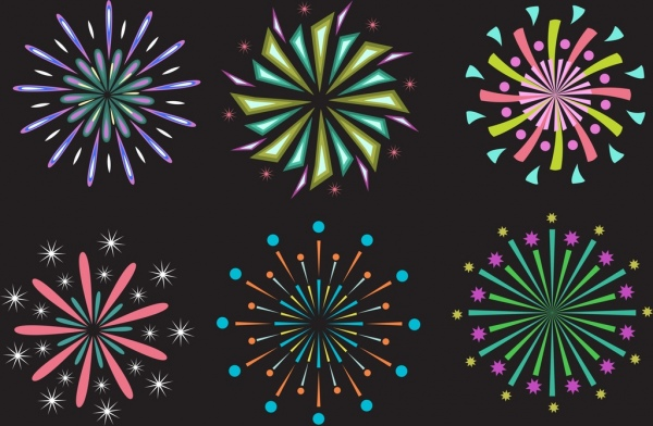 fireworks design elements colored flat style