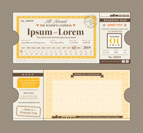 First Class Ticket With Wedding Invitation Templates Vector Free