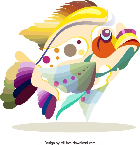 fish animal icon colorful flat sketch