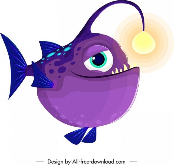 fish creature icon funny cartoon character