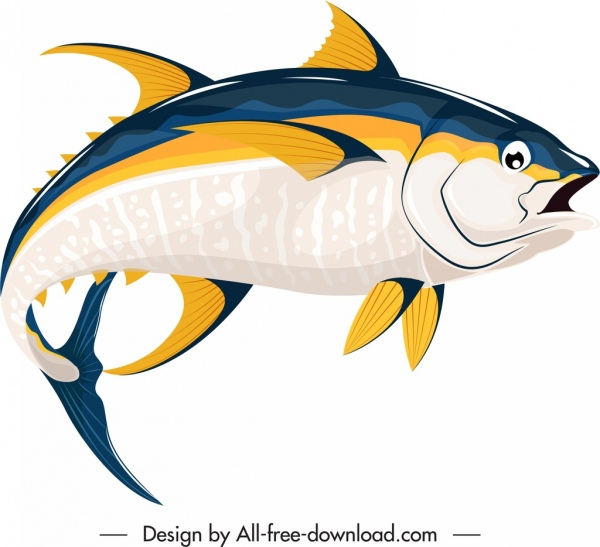 fish icon swimming motion sketch colorful handdrawn 3d