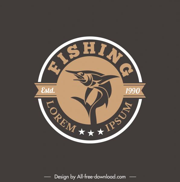 fish logo template dark flat classical design