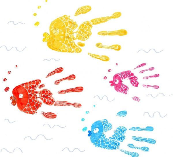 fishes background colorful fingers sketch hand drawn style