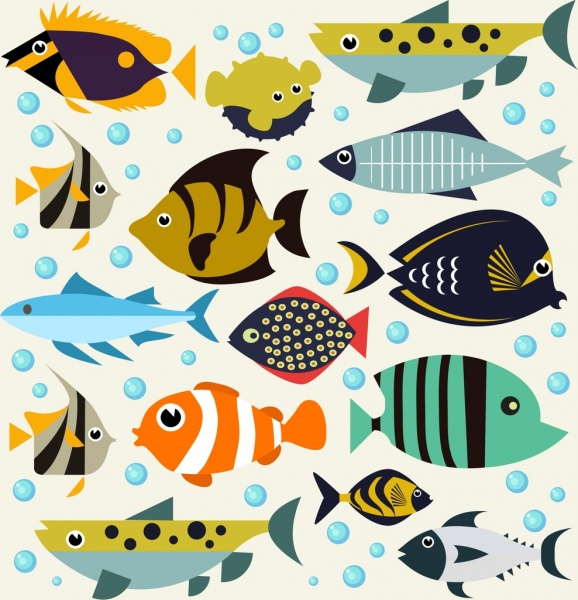 fishes background multicolored cartoon icons
