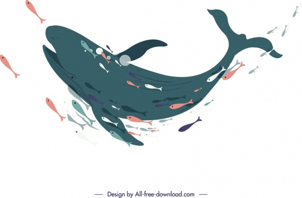 fishes painting swimming whale icon cartoon sketch