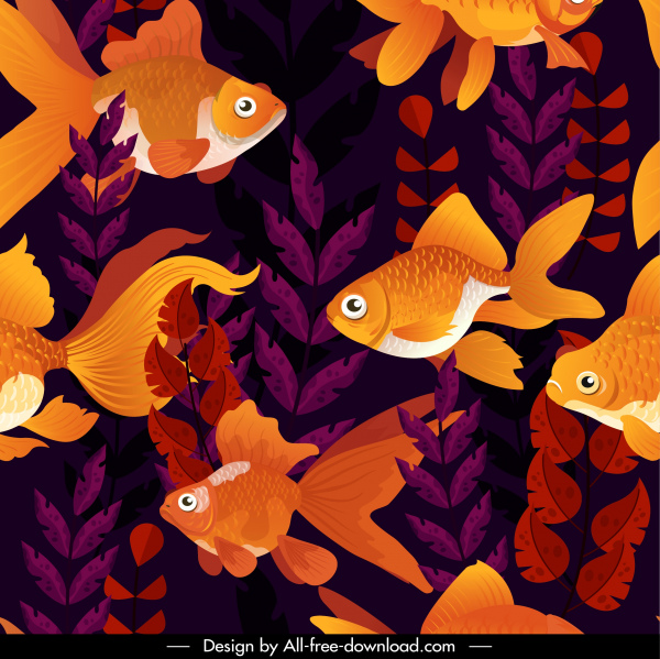 fishes pattern colorful dark classic decor