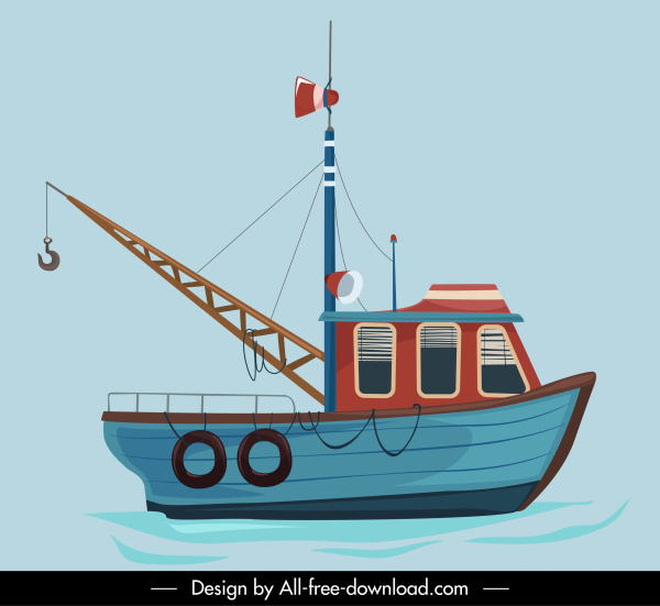 fishing boat painting colorful flat sketch