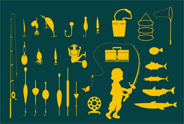 fishing icons vector illustration in bright silhouettes style