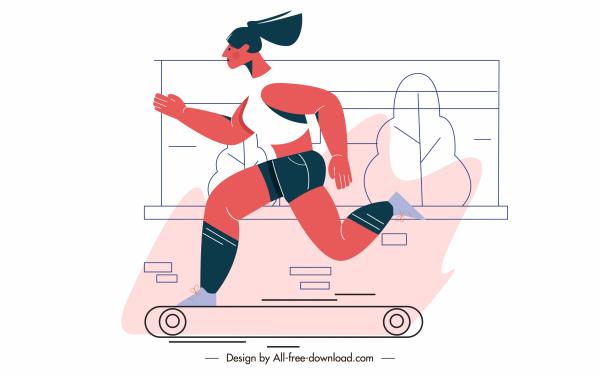 fitness sport painting skateboarding woman sketch cartoon character