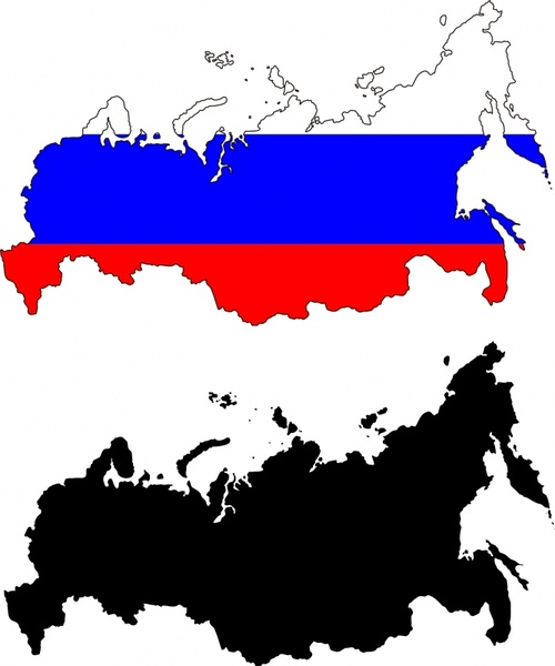 russia map background flag colors black white sketch