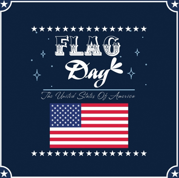 Flag Day Banner Usa Nation Symbol Star Decoration Free Vector In