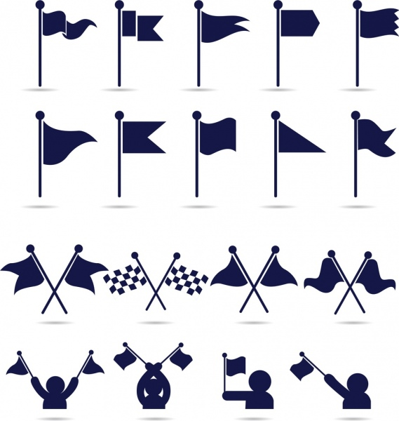 flag icons collection various flat isolation