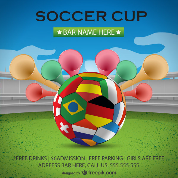 flag with football world cup creative background