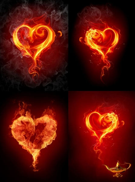 flame effect of romantic heartshaped hd photo 2