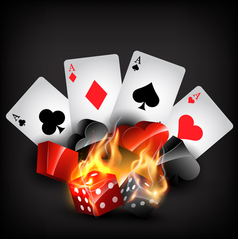 Flame Elements Casino Cards Vector Graphics Free Vector In