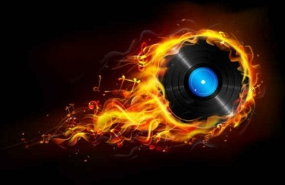 flame with cd background vector
