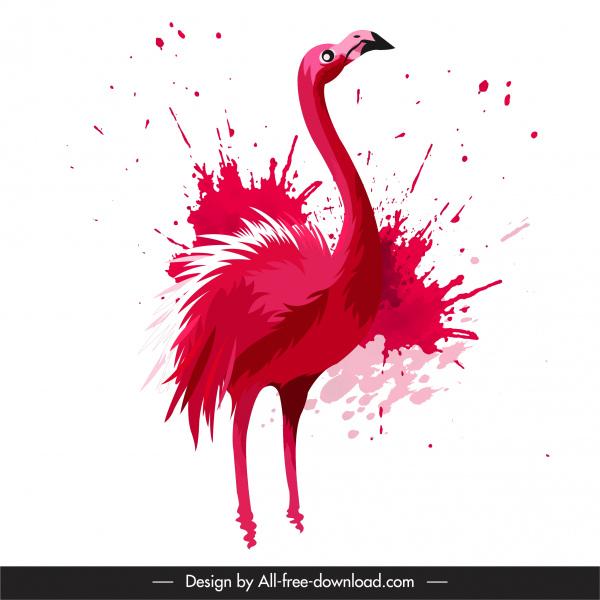 flamingo bird painting red splashing grunge design