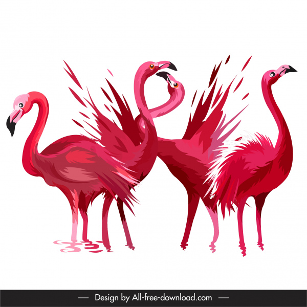 flamingo species painting red handdrawn sketch