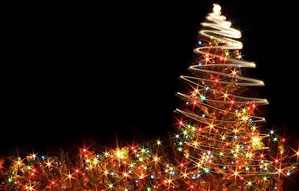 flashing christmas tree stock photo