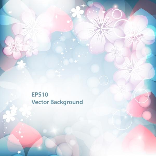 floral card background template sparkling elegant petals decor