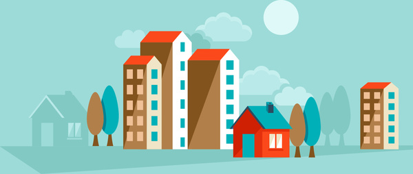 flat city building vector
