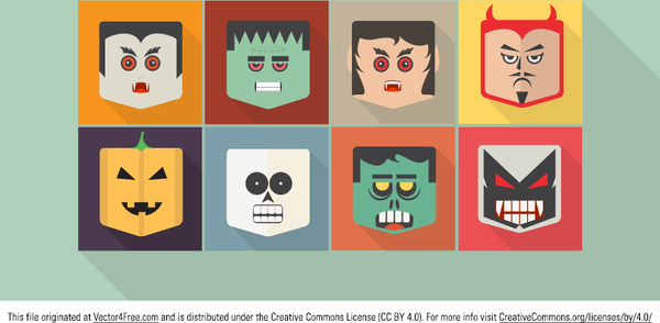Flat halloween vector characters Free vector in Encapsulated