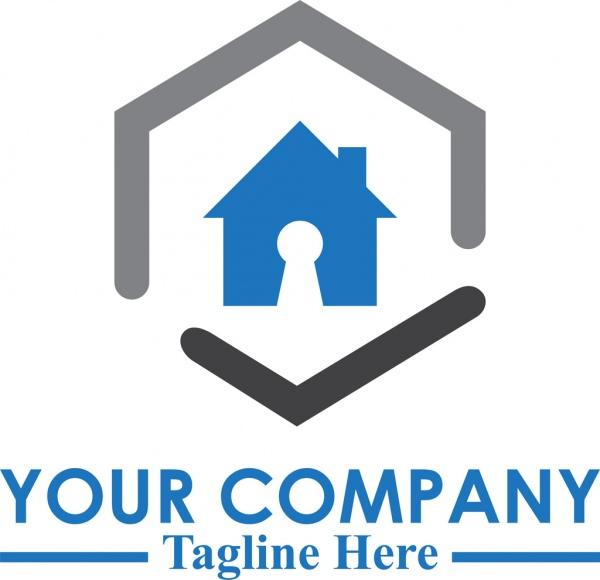 flat home lock security logo template