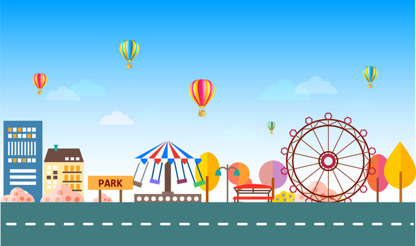 flat vector of colored background of amusement park