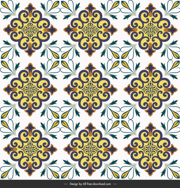 floor tile pattern template symmetric repeating shapes decor