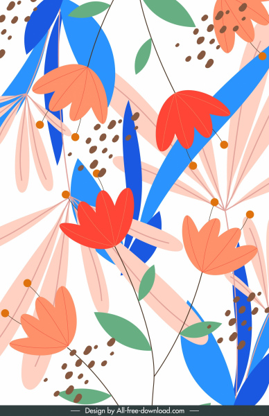 floral background colorful decor classic flat handdrawn design