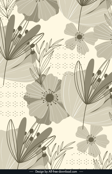 floral background dark vintage handdrawn sketch