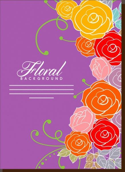 floral background design colorful roses and violet decoration