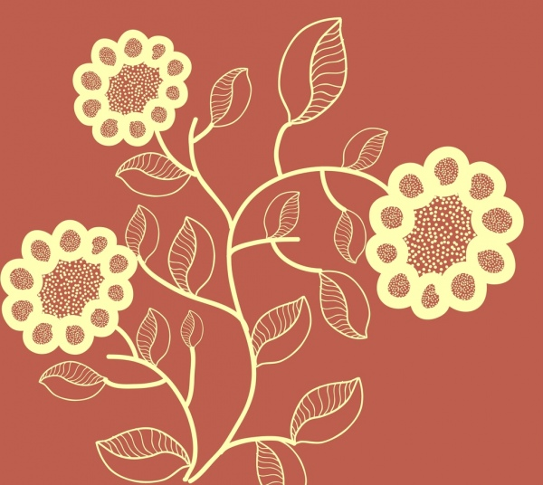 floral background design sunflower silhouette style