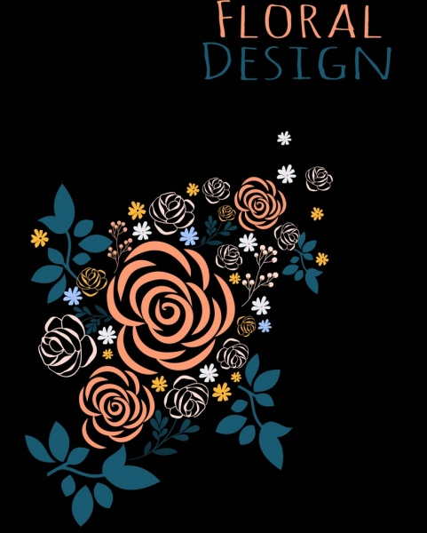 Floral Background Roses Icon Dark Design Free Vector In Adobe