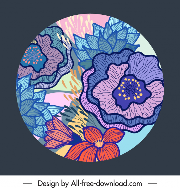 floral background template colorful vintage handdrawn circle isolation