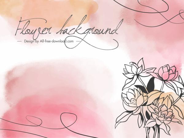 floral background template elegant retro handdrawn design