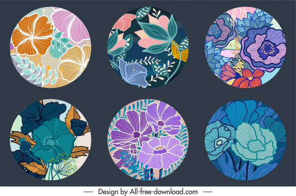 floral background templates colorful classical handdrawn design