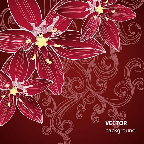 floral background template dark classic handdrawn decor